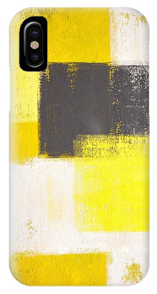 Grey Background iPhone Case - Yellow And Grey Abstract Art Painting by T30 Gallery