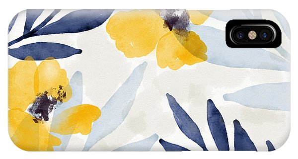 Watercolor iPhone Case - Yellow And Navy 1- Floral Art By Linda Woods by Linda Woods