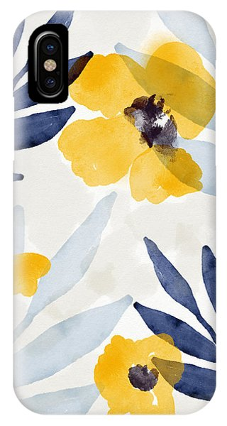 Leaf iPhone Case - Yellow And Navy 1- Floral Art By Linda Woods by Linda Woods