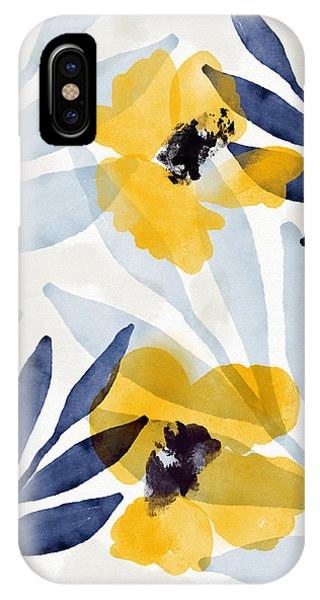 Leaf iPhone Case - Yellow And Navy 2- Floral Art By Linda Woods by Linda Woods