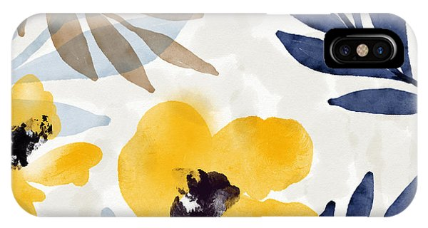 Watercolor iPhone Case - Yellow And Navy 3- Floral Art By Linda Woods by Linda Woods