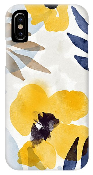 Leaf iPhone Case - Yellow And Navy 3- Floral Art By Linda Woods by Linda Woods