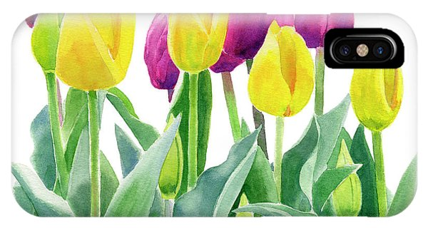 Violet iPhone Case - Yellow And Violet Tulips Horizontal Design by Sharon Freeman
