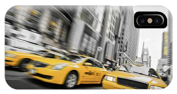 New York City Taxi iPhone Case - Yellow Cabs In New York by Delphimages Photo Creations