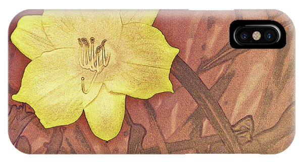 Yellow Day Lily Stencil On Sandstone IPhone Case