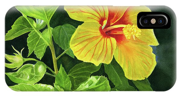 Hibiscus Flower iPhone Case - Yellow Hibiscus With Bright Green Leaves by Sharon Freeman