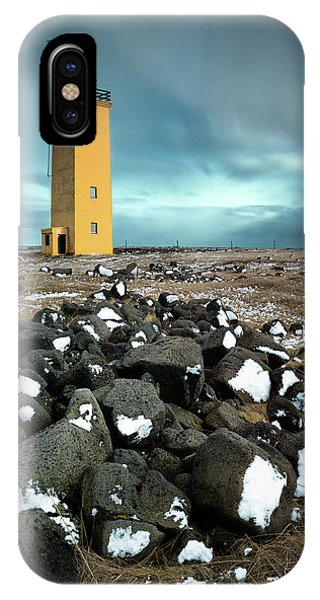 Navigation iPhone Case - Yellow Lighthouse by Dave Bowman