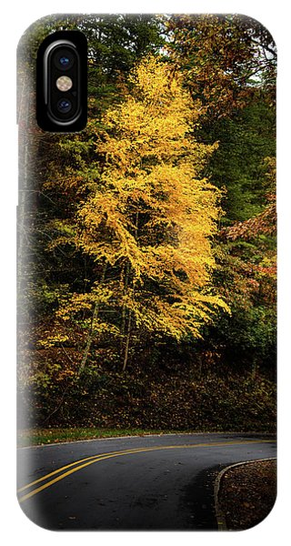 IPhone Case featuring the photograph Yellow Tree In The Curve by Chrystal Mimbs