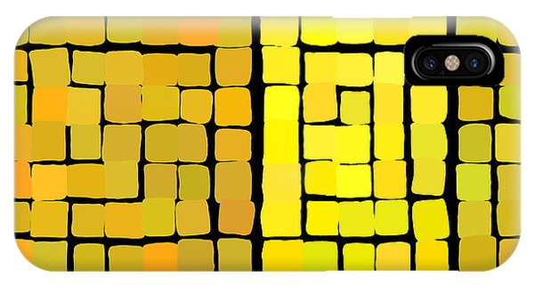 IPhone Case featuring the digital art Yellow Triptych by Attila Meszlenyi