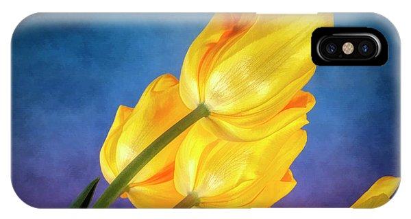 Tulip iPhone Case - Yellow Tulips On Blue by Tom Mc Nemar