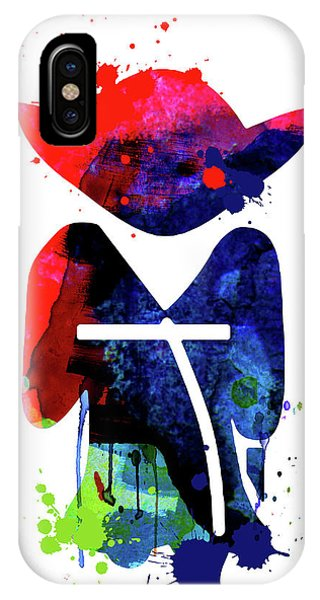 Film iPhone Case - Yoda Cartoon Watercolor 1 by Naxart Studio