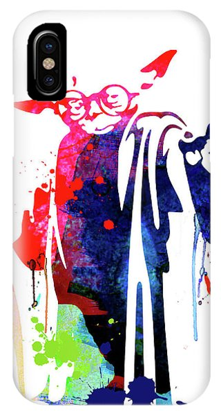 Film iPhone Case - Yoda Wearing Classes Watercolor by Naxart Studio