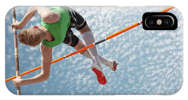Reach iPhone Case - Young Athletes Pole Vault Seems To by Mezzotint