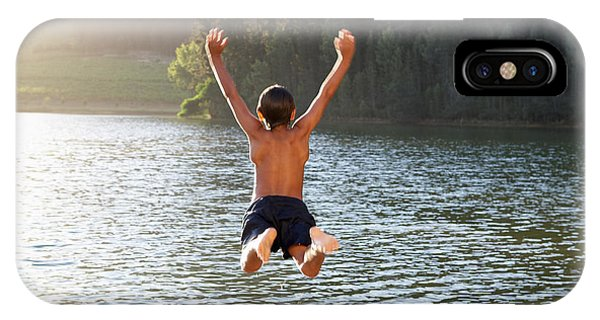 Dive iPhone Case - Young Boy Jumping Into Lake by Monkey Business Images