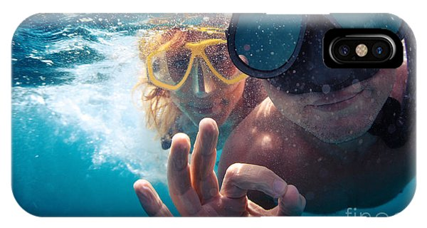 Under Water iPhone Case - Young Couple Having Fun Underwater And by Dudarev Mikhail