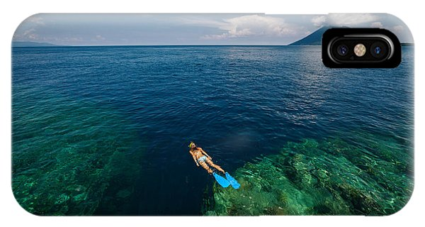 Young Lady Snorkeling Over The Reef Phone Case by Dudarev Mikhail
