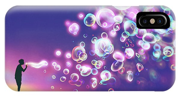Celebration iPhone Case - Young Man Blowing Glowing Soap Bubbles by Tithi Luadthong