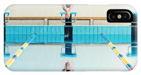 Strength iPhone Case - Young Muscular Swimmer Jumping From by Nejron Photo