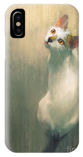Cute Kitten iPhone Case - Young White Cat Looking Up,digital by Tithi Luadthong