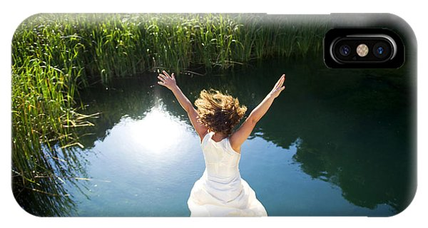 Dive iPhone Case - Young Woman In White Dress Jumping Into by Luna Vandoorne