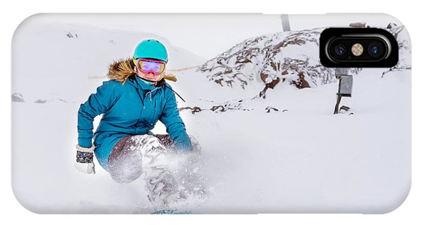 White Mountains iPhone Case - Young Woman Snowboarder In Motion On by Maxim Blinkov