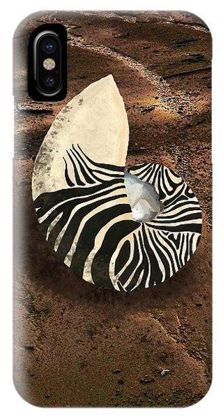 Zebra Nautilus Shell On The Sand IPhone Case
