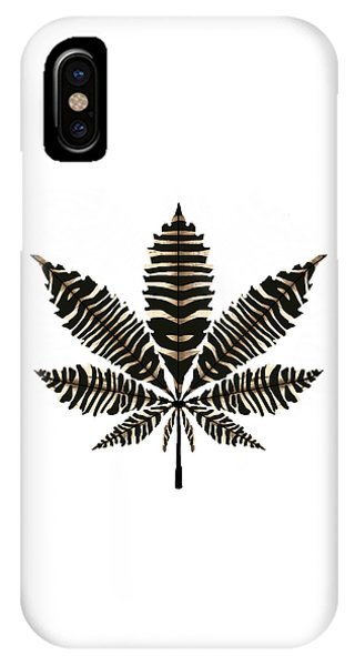 Zebra Pattern Marijuana Leaf 2 IPhone Case