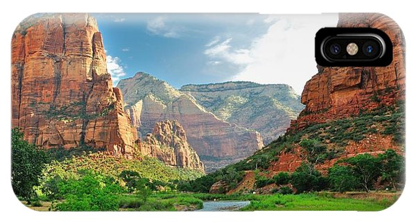 White Mountains iPhone Case - Zion Canyon, With The Virgin River by Bjul