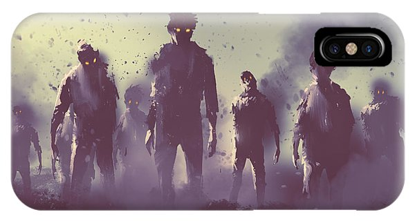 Death iPhone Case - Zombie Crowd Walking At Night,halloween by Tithi Luadthong