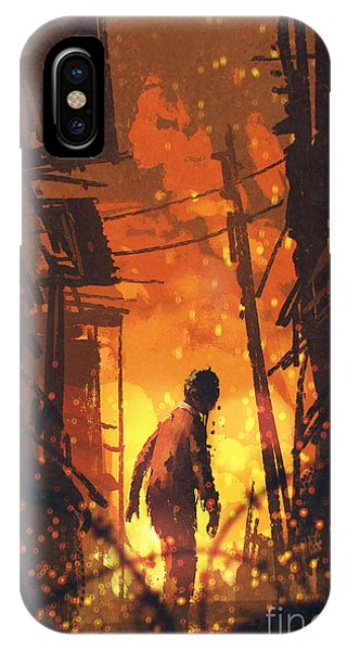 Death iPhone Case - Zombie Looking Back With Burning City by Tithi Luadthong