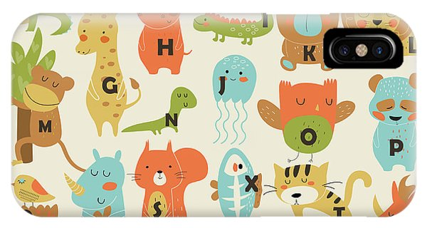 Bat iPhone X Case - Zoo Alphabet With Cute Animals In by Kaliaha Volha