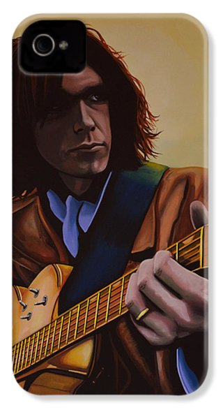 Neil Young Painting IPhone 4 Case by Paul Meijering