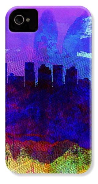 Phoenix Watercolor Skyline 1 IPhone 4 / 4s Case by Naxart Studio