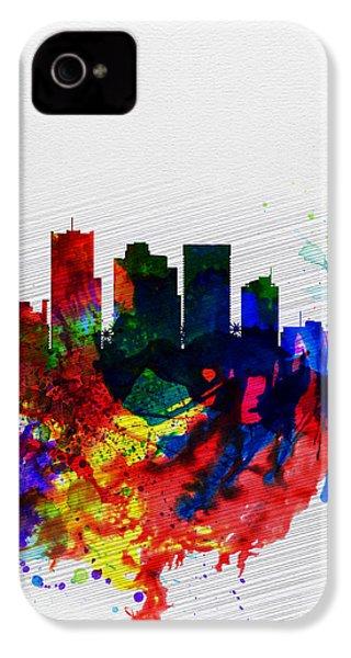 Phoenix Watercolor Skyline 2 IPhone 4 / 4s Case by Naxart Studio