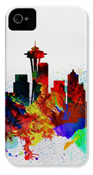 Seattle Watercolor Skyline 2 IPhone 4 Case by Naxart Studio