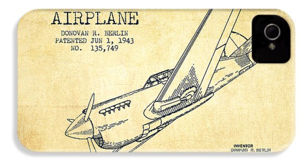 Airplane Patent Drawing From 1943-vintage IPhone 4 Case by Aged Pixel