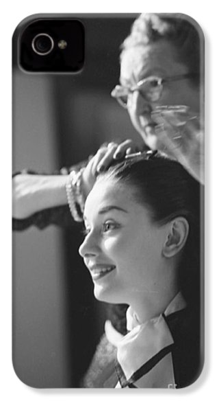 Audrey Hepburn Preparing For A Scene In Roman Holiday IPhone 4 Case by The Harrington Collection