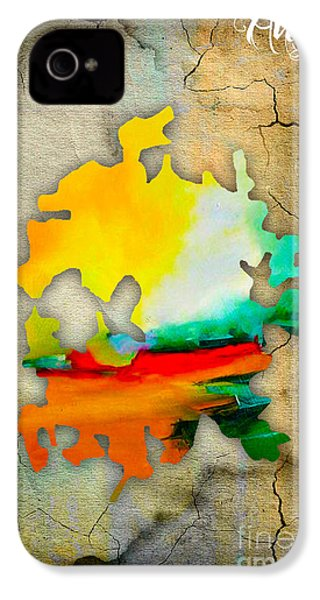 Austin Map Watercolor IPhone 4 Case by Marvin Blaine