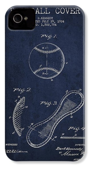 Baseball Cover Patent Drawing From 1924 IPhone 4 Case by Aged Pixel