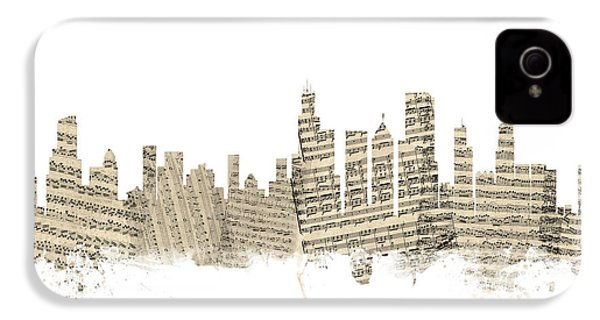 Chicago Illinois Skyline Sheet Music Cityscape IPhone 4 Case by Michael Tompsett