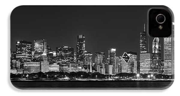 Chicago Skyline At Night Black And White Panoramic IPhone 4 Case