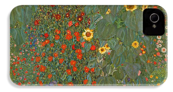 Farm Garden With Sunflowers IPhone 4 Case by Gustav Klimt