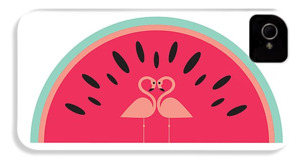 Flamingo Watermelon IPhone 4 Case by Susan Claire