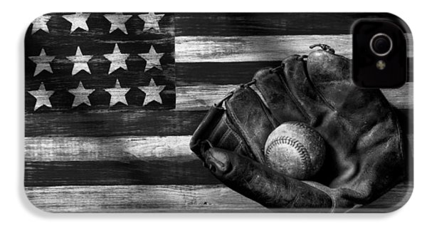 Folk Art American Flag And Baseball Mitt Black And White IPhone 4 Case by Garry Gay