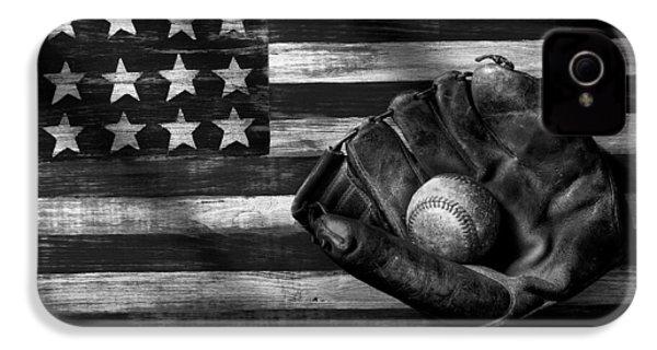 Folk Art American Flag And Baseball Mitt Black And White IPhone 4 Case by Garry Gay