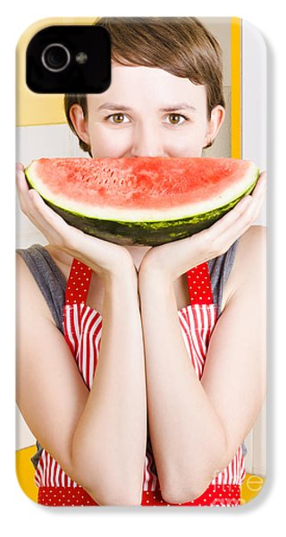 Funny Woman With Juicy Fruit Smile IPhone 4 Case by Jorgo Photography - Wall Art Gallery
