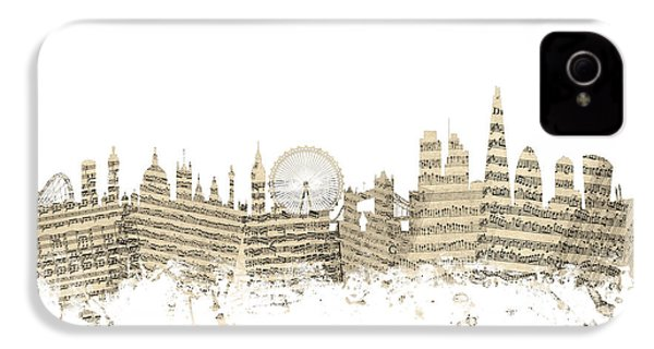 London England Skyline Sheet Music Cityscape IPhone 4 Case by Michael Tompsett