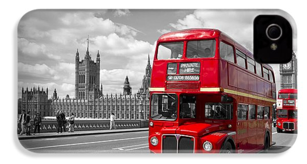 London - Houses Of Parliament And Red Buses IPhone 4 Case by Melanie Viola