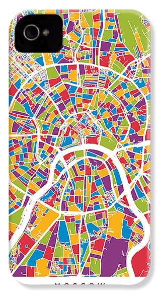 Moscow City Street Map IPhone 4 Case by Michael Tompsett