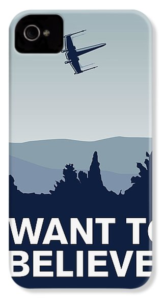 My I Want To Believe Minimal Poster-xwing IPhone 4 Case by Chungkong Art